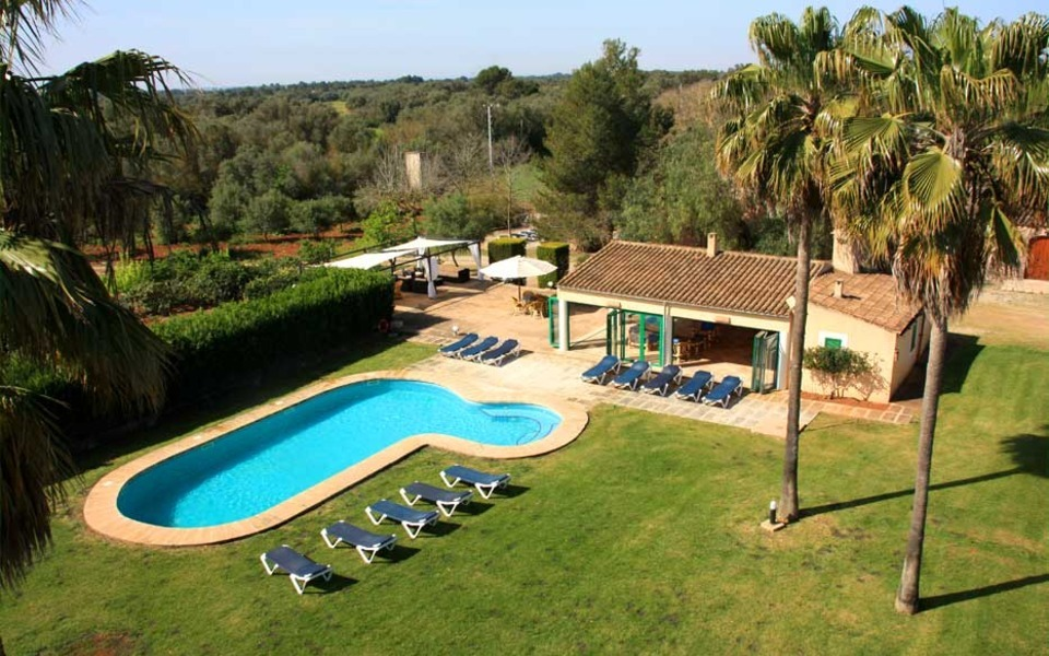 Panoramic view, garden and swimming pool